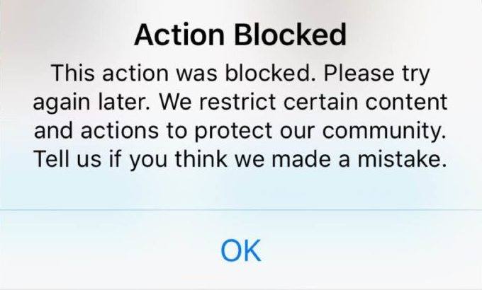 instagram action blocked fix