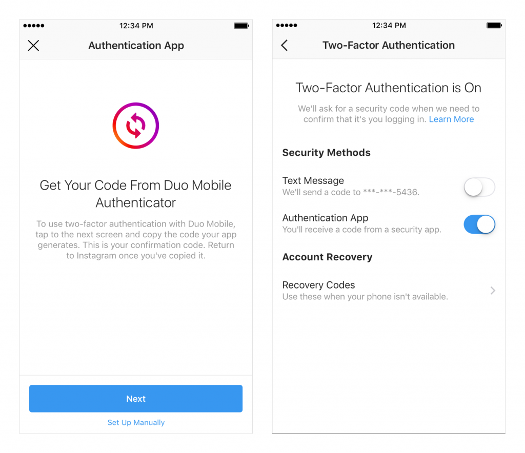 How to enable two-factor authentication in Instagram