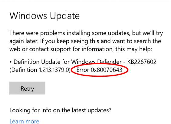 how to fix windows 10 error 0x80070643